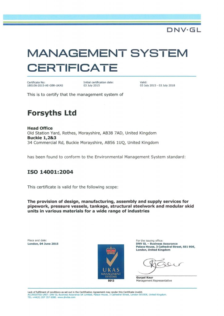 ISO 14001 - 2004 Certificate 2018