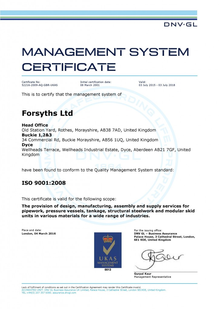 ISO 9001 - 2008 Certificate updated March 2016