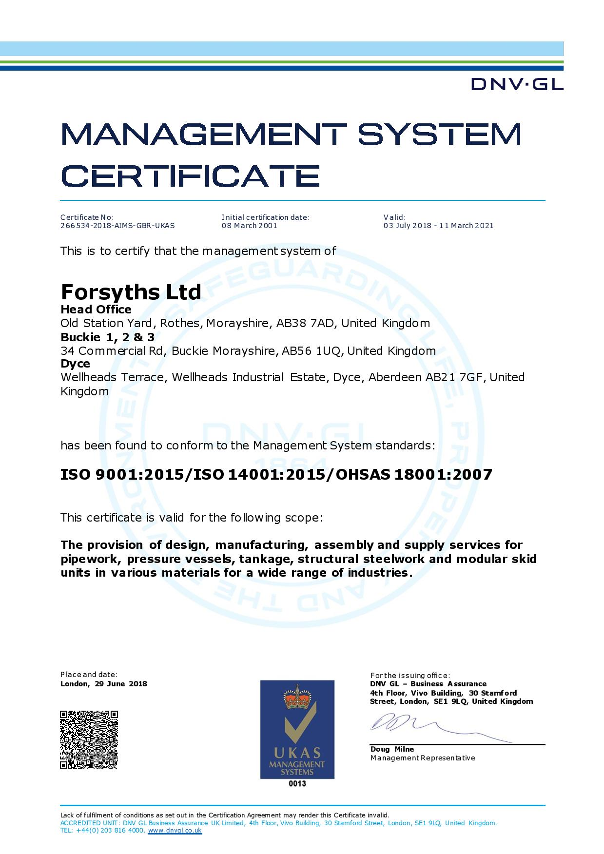 Forsyths – ISO 9001